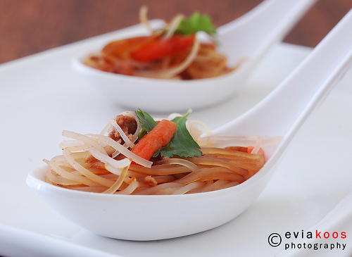 rice vermicelli in spoon